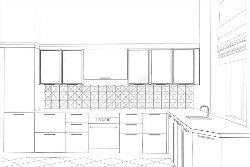 Vektordesignprocess i tråd-ram illustration royaltyfri illustrationer