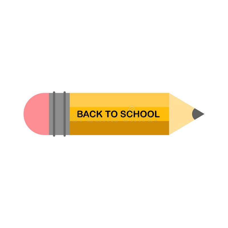 Vektordesignschablone f?r zur?ck zu Schule Schulbedarfikone, scharfer hölzerner Bleistift und zurück zu Schultext stock abbildung