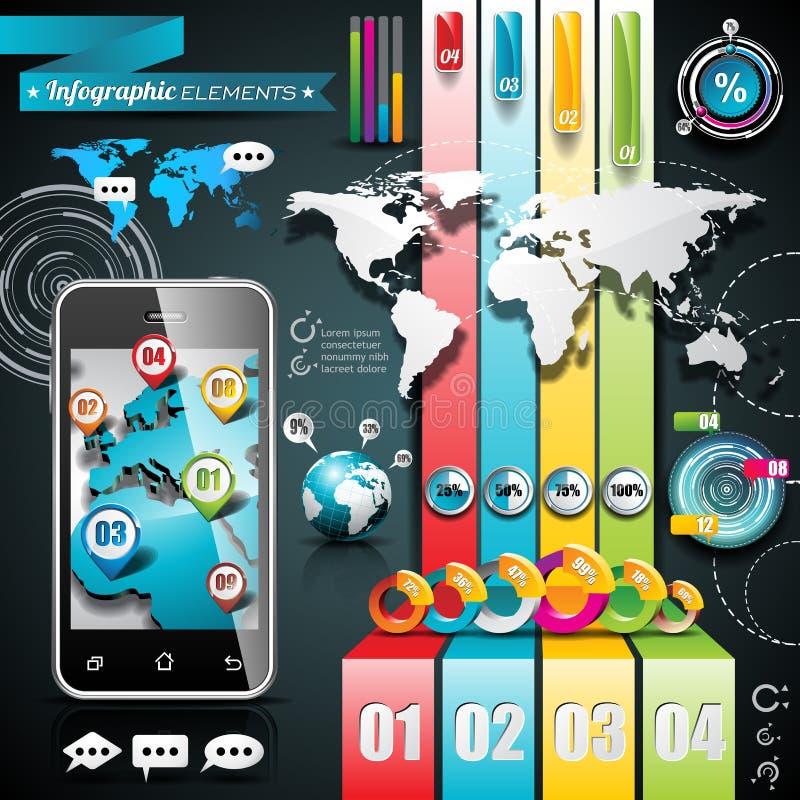 Vektordesignuppsättning av infographic beståndsdelar. Världskarta- och informationsdiagram. vektor illustrationer