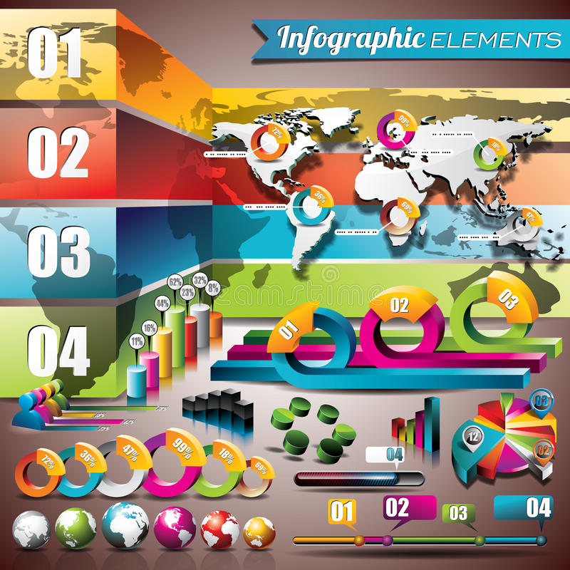 Vektordesignuppsättning av infographic beståndsdelar. Världskarta- och informationsdiagram. stock illustrationer