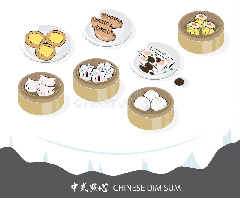 Vektordiagram av kines Dimsum vektor illustrationer