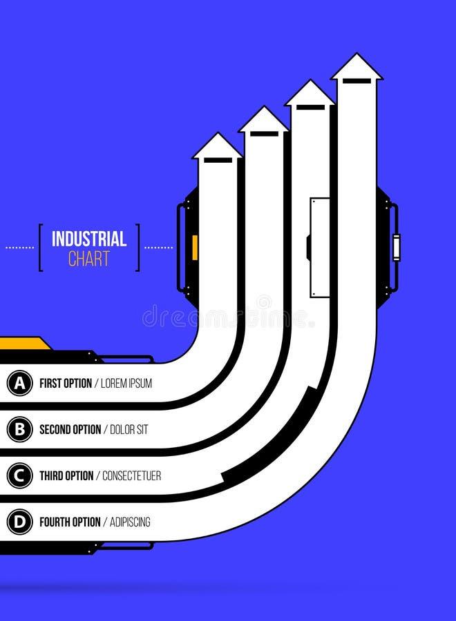 Vektordiagram Fyra riktningsrunda pilar i geometrisk industriellt/techno utformar vektor illustrationer