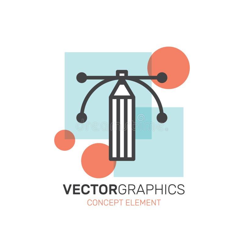 Vektordiagram och designskapelseprocess royaltyfri illustrationer