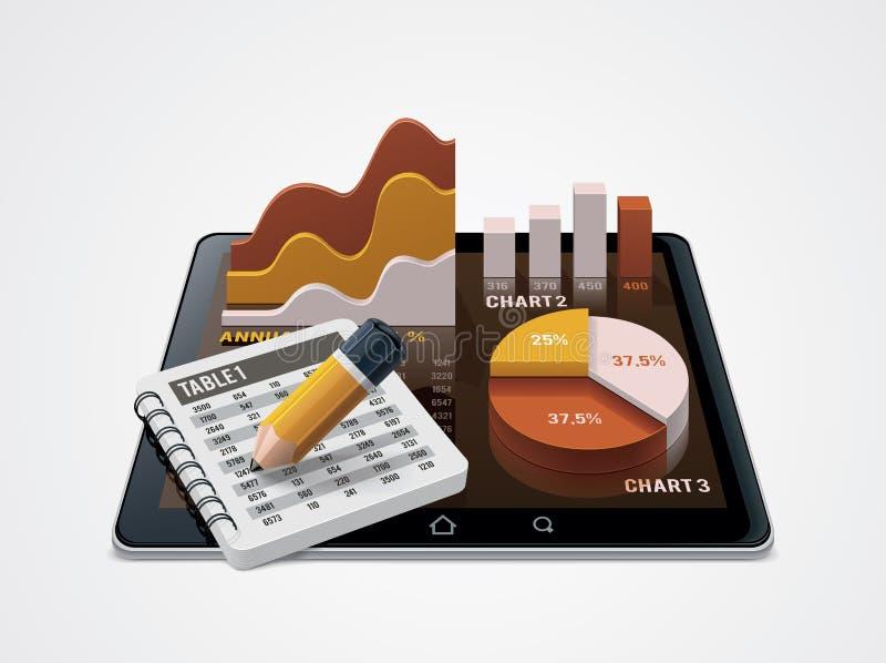 Vektordiagram och tabellredaktörsymbol stock illustrationer