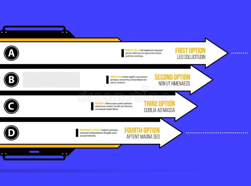 Vektordiagramm Vier horizontale Pfeile mit Wahlen in der geometrischen industrieller/techno Art lizenzfreie abbildung