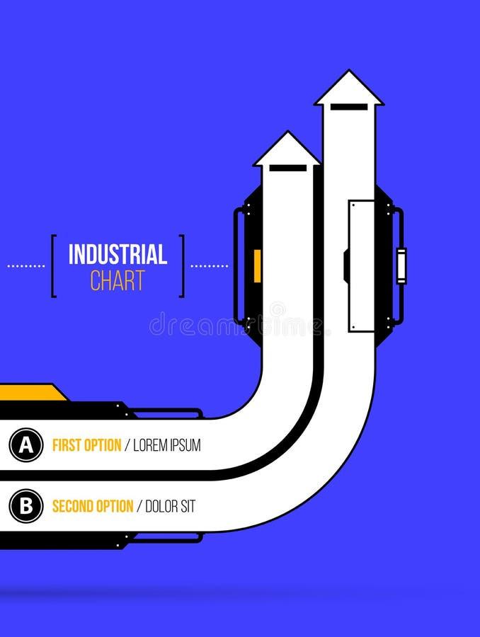 Vektordiagramm Zwei gerichtete runde Pfeile in der geometrischen industrieller/techno Art lizenzfreie abbildung