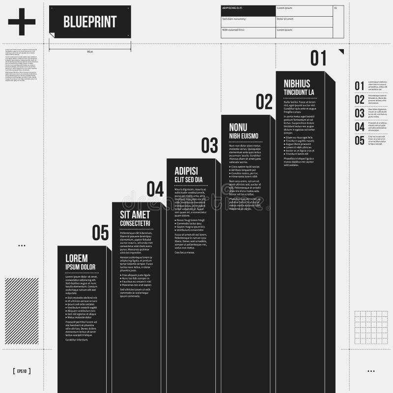 Vektordiagrammall med fem etapper i utkaststil royaltyfri illustrationer