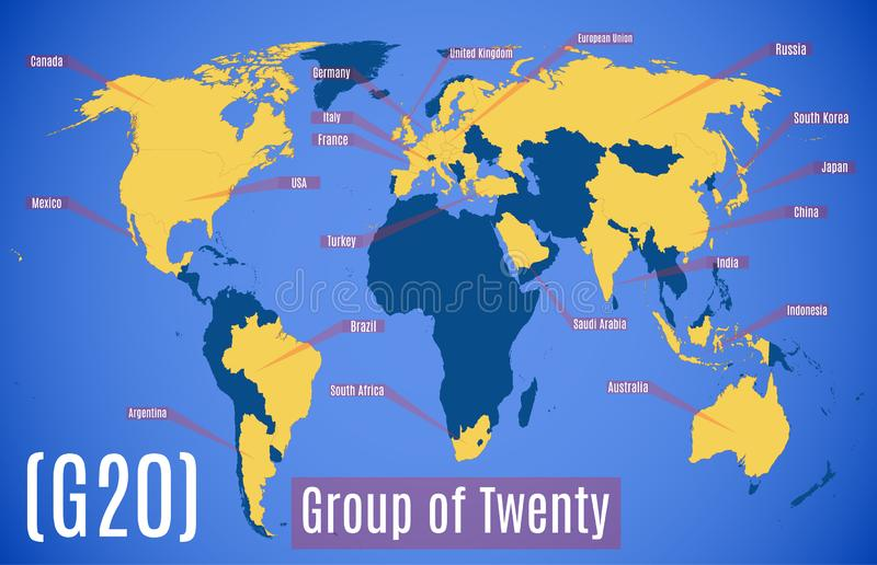 Vektordiagrammkarte Mitgliedsl?nder im G20 lizenzfreie abbildung