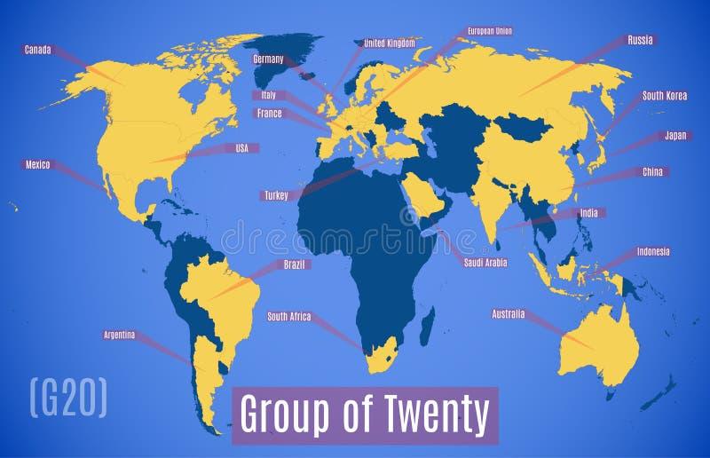 Vektordiagrammkarte Mitgliedsl?nder im G20 stock abbildung