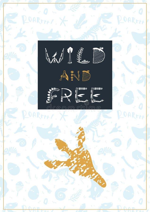 Vektordinosaurieillustration Fri tecknad filmdino affisch som är lös och royaltyfri illustrationer