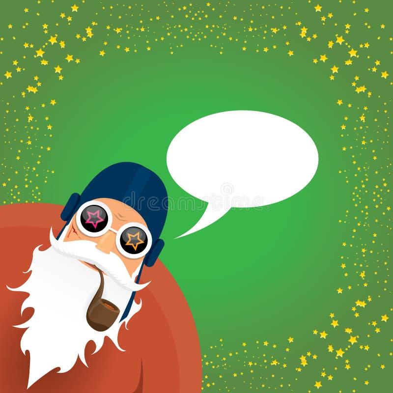 Vektordiscjockeyn vaggar n rullar Santa Claus med det röka röret, det santa skägget, och den skraj santa hatten som isoleras på g stock illustrationer