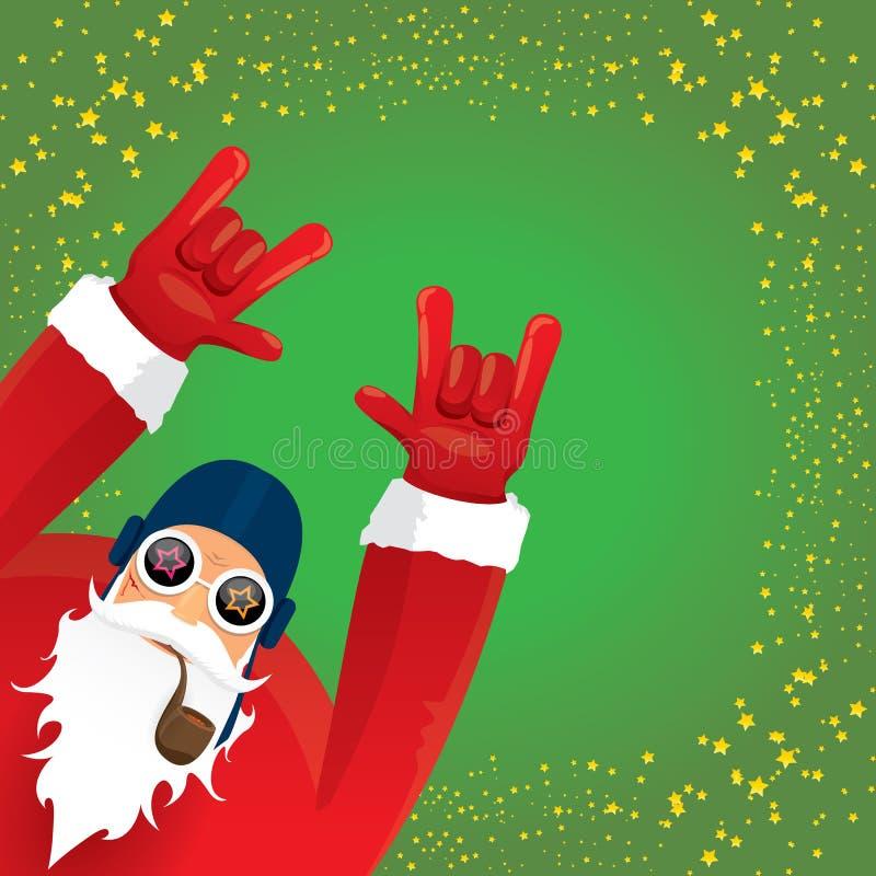 Vektordiscjockeyn vaggar n rullar Santa Claus med det röka röret, det santa skägget, och den skraj santa hatten som isoleras på g royaltyfri illustrationer