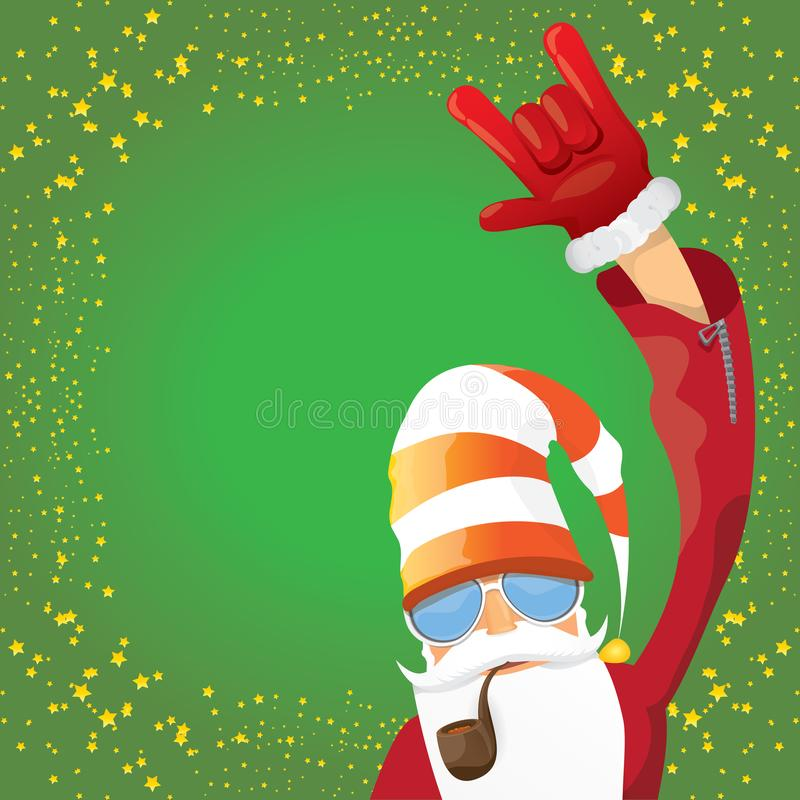 Vektordiscjockeyn vaggar n rullar Santa Claus med det röka röret, det santa skägget, och den skraj santa hatten som isoleras på g vektor illustrationer