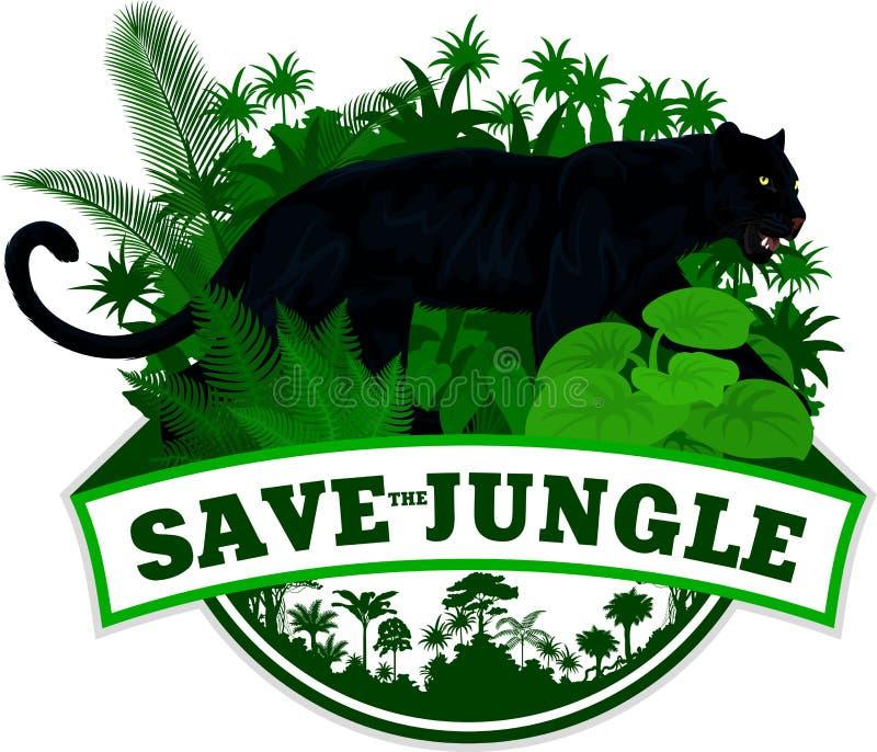 Vektordjungelemblem med leopardjaguar för svart panter stock illustrationer