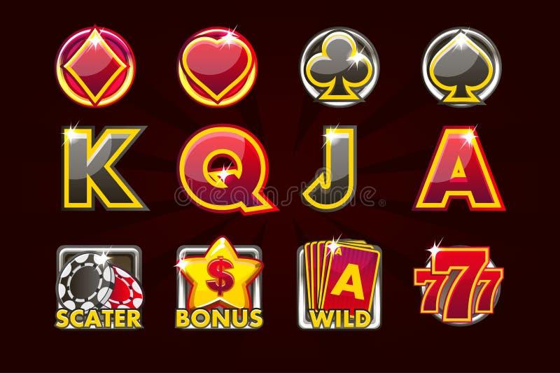 Vektordobbelsymboler av kortsymboler för enarmade banditer och en lotteri eller en kasino i svart-röda färger Modig kasino, sprin royaltyfri illustrationer
