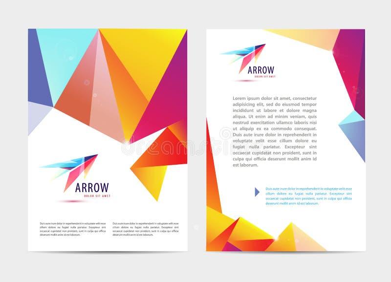 Vektordokumentet, broschyren för bokstavs- eller logostilräkning och modellen för brevhuvudmalldesign ställde in för affär stock illustrationer