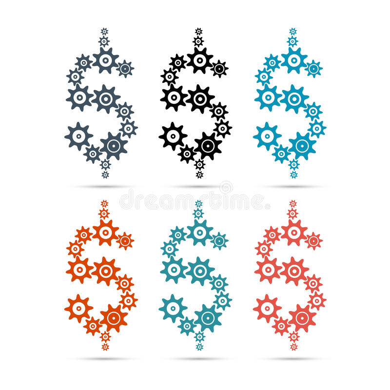 Vektordollarsymbol - tecken vektor illustrationer