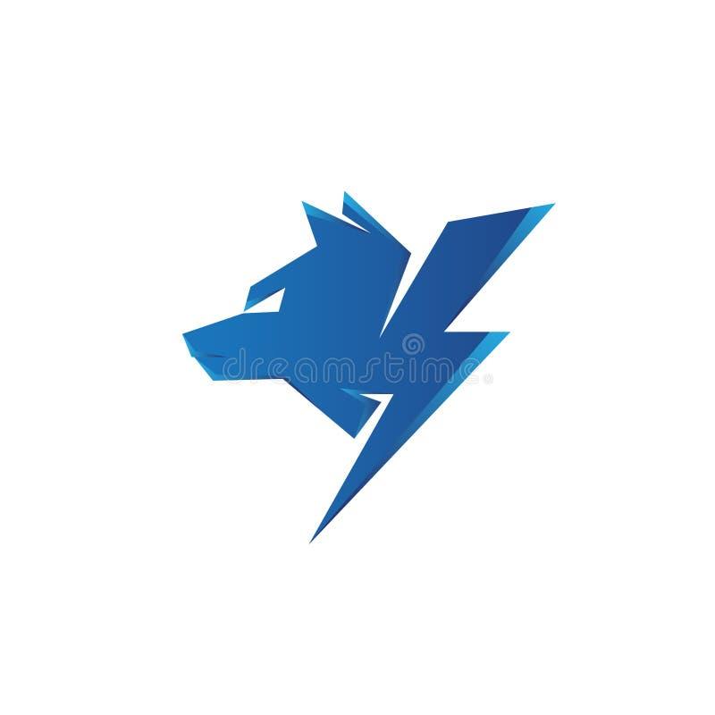 Vektordonnerwolf des geometrischen Designs lokalisiert auf weißem Hintergrund stock abbildung