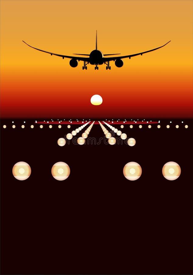 VektorDreamLiner Landung am Sonnenuntergang lizenzfreie abbildung