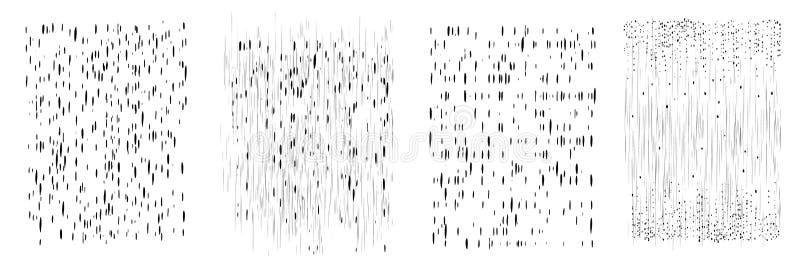 Vektordroppander och prickar av svart färgpulver Vertikala linjer, tappar och plaskar Uppsättning av fyra olika modeller Hand dra vektor illustrationer