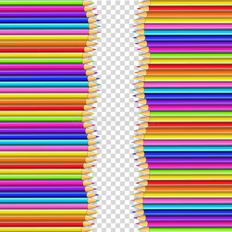 Vektordubblettgränsen som göras av lodlinje, ror kulöra träblyertspennor royaltyfri illustrationer