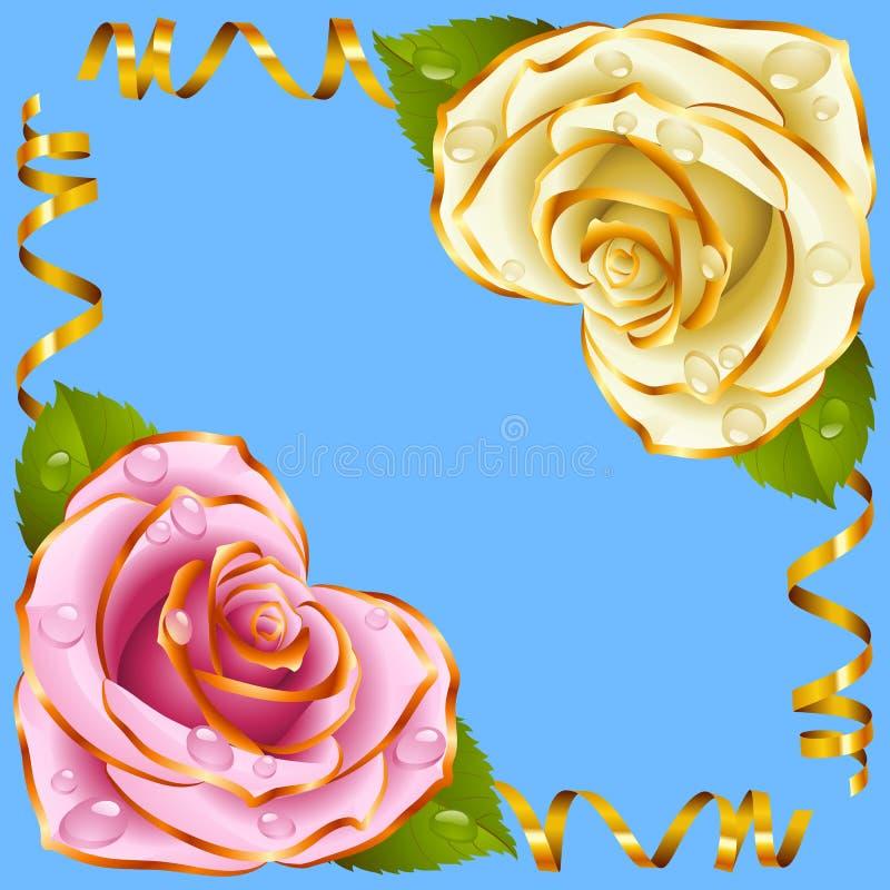 Vektoreckvignette Rosa und weiße Rose und goldene Bänder lizenzfreie abbildung