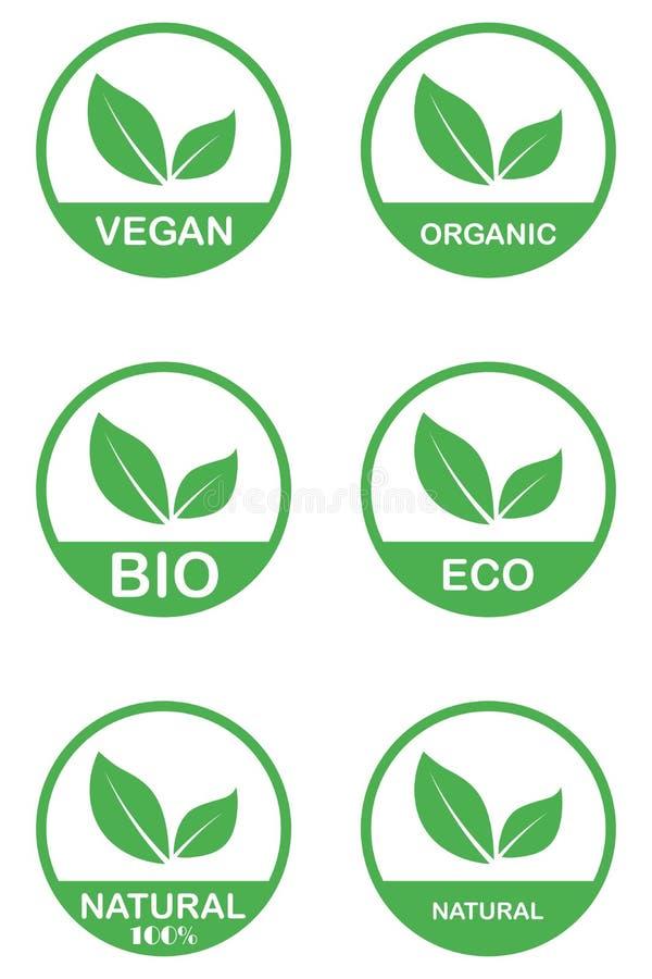 Vektorecoen, organisk bio logo cards mallar Handskrivet sunt ?ter symbolsupps?ttningen Strikt vegetarian, naturlig mat och drinkt vektor illustrationer