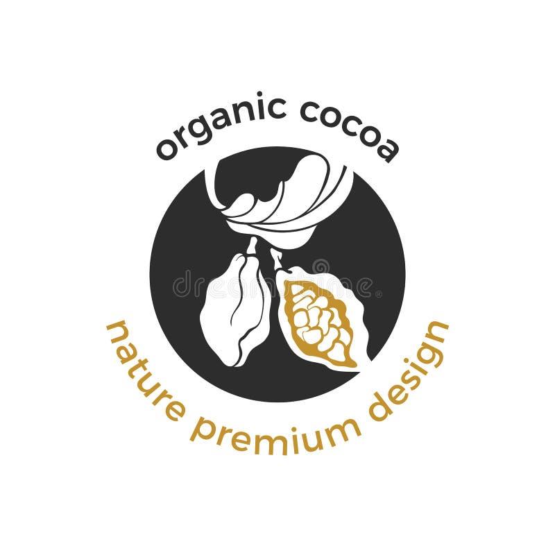 Vektorecologo, organisk etikett av kakaoträdet royaltyfri illustrationer
