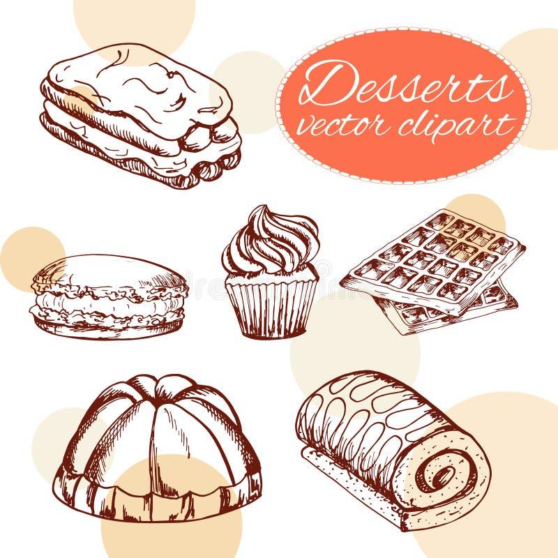 Vektorefterrättbeståndsdelar i hand dragen stil läcker mat Konstillustration stock illustrationer