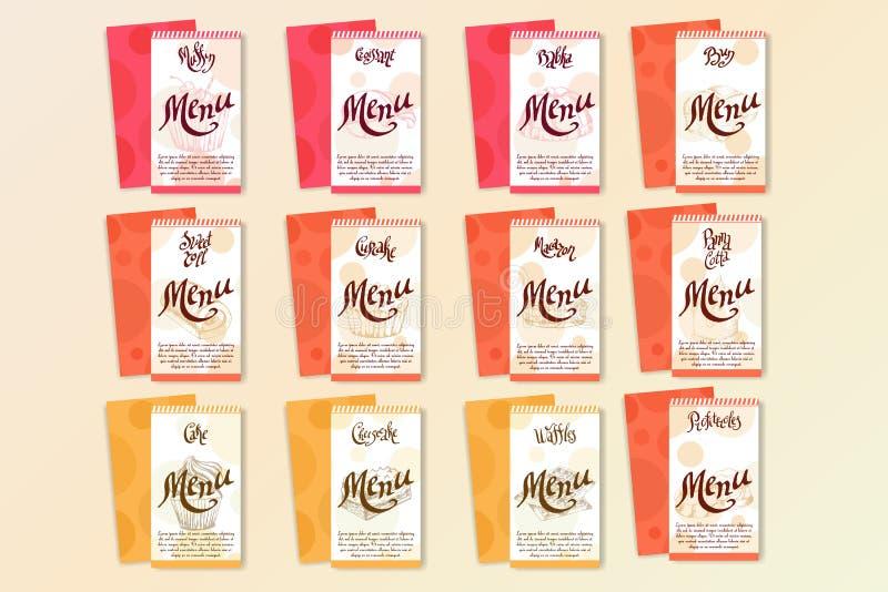 Vektorefterrättbeståndsdelar i hand dragen stil läcker mat Konstillustration Söt bakelse för din design i kafémenyn, affisch royaltyfri illustrationer