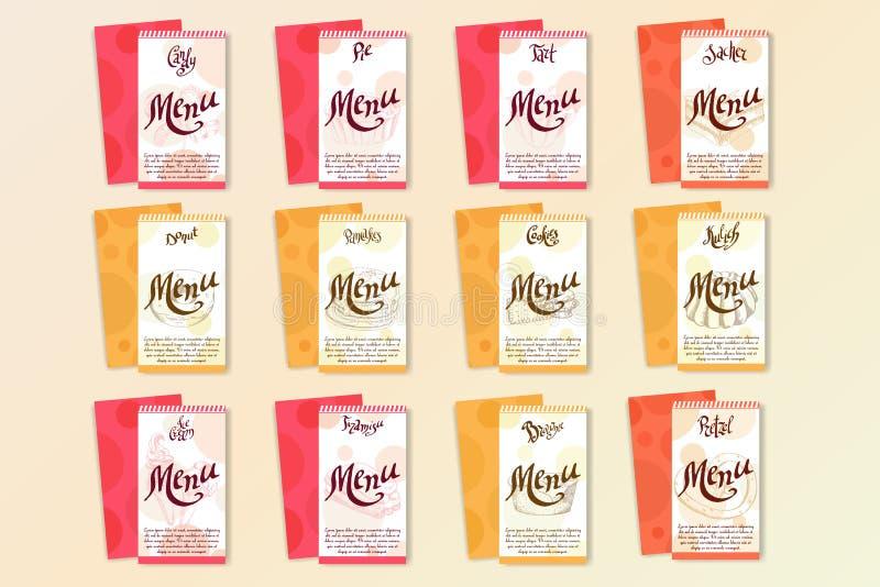 Vektorefterrättbeståndsdelar i hand dragen stil läcker mat Konstillustration Söt bakelse för din design i kafémenyn, affisch vektor illustrationer