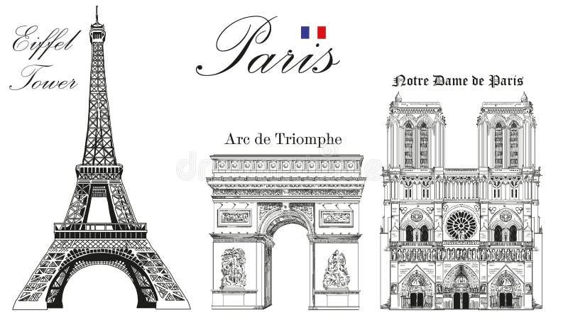 VektorEiffeltorn, triumf- båge och Notre Dame Cathedral royaltyfri illustrationer