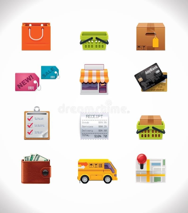 Vektoreinkaufen-Ikonenset stock abbildung