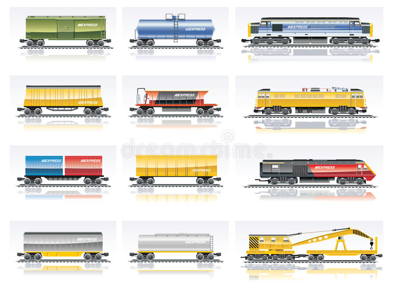 Vektoreisenbahntransport-Ikonenset stock abbildung