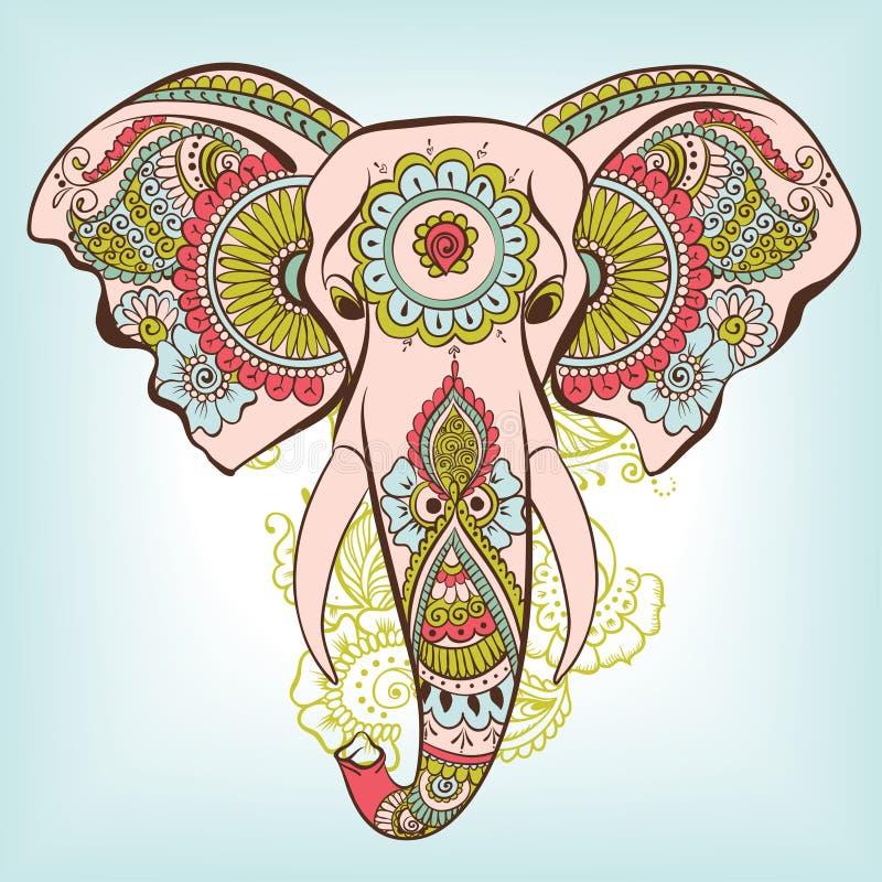 Vektorelefant på Henna Indian Ornament stock illustrationer