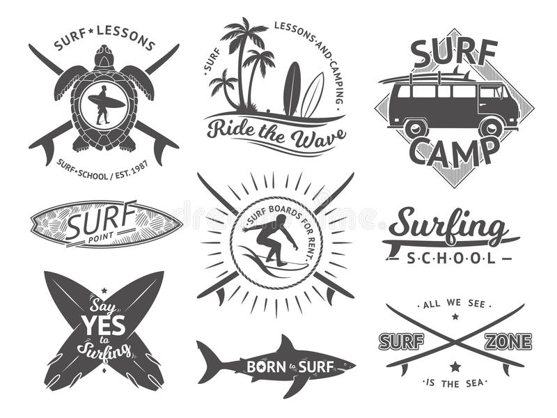 Vektorelemente für Aufkleber oder Ausweise Surfen, Hawaii-Surfbrett und Meer Einfarbiger Illustrationssatz stock abbildung