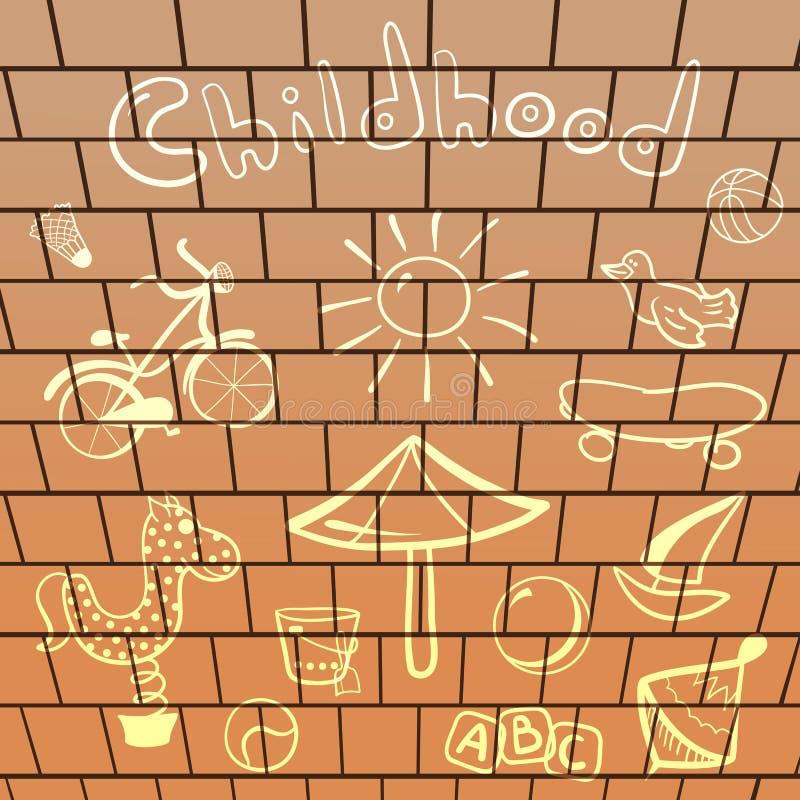Vektorelementspielplatz, von Hand gezeichnet auf Ziegelstein stock abbildung