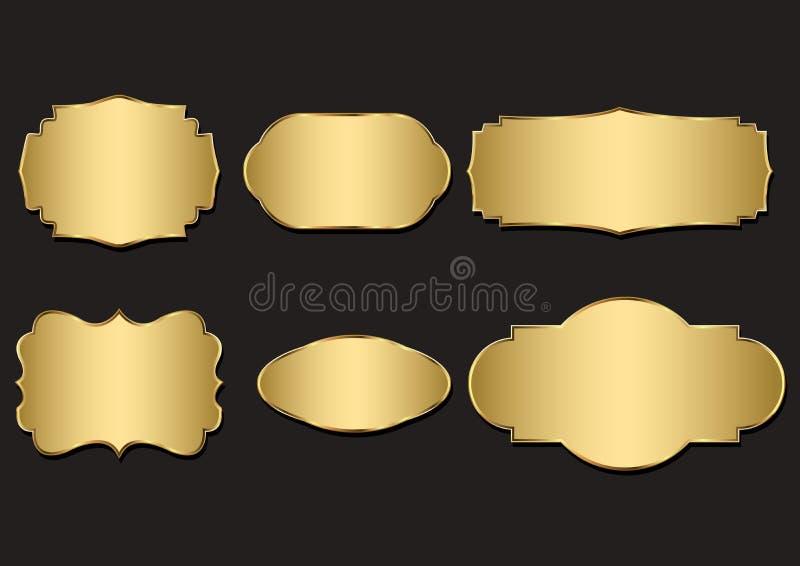 Vektoremblem av den guld- skyddsremsan vektor illustrationer