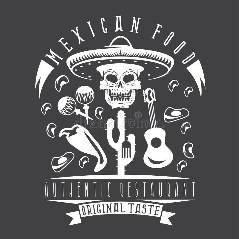 Vektoremblem av restaurangskallen i mexikansk sombrero vektor illustrationer