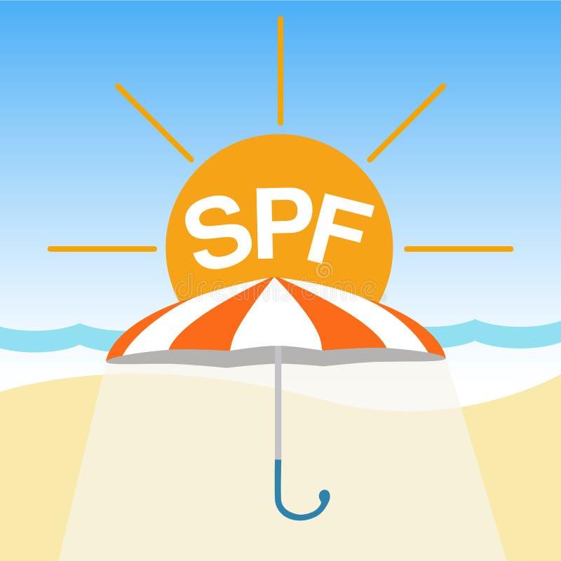 Vektoremblem, logo på skydd från ljust solljus Sommarsemester, sunscreen, orange paraply på stranden med ordet SPF royaltyfri illustrationer