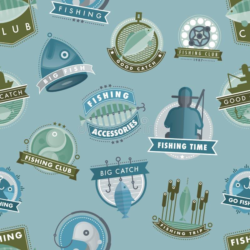 Vektoremblem som fångar fiskfiske, klubbar eller shoppar bakgrund för modellen för illustrationen för fiskarelogovektorn sömlös vektor illustrationer