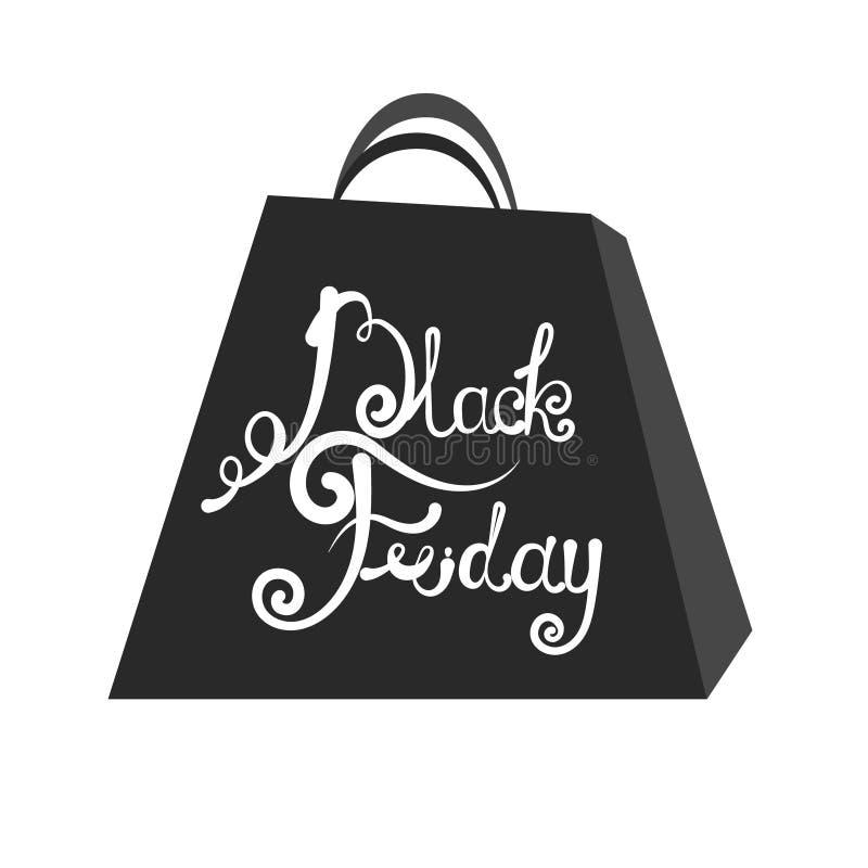 VektoremblemBlack Friday försäljning Bokstäver på packen Black Friday stock illustrationer
