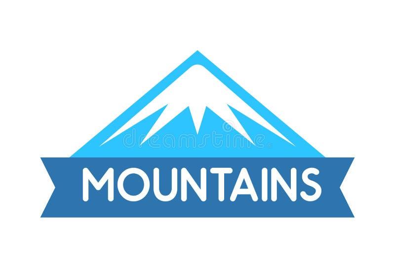 Vektoremblemet av berg i blå färg, logoen för garnering av turnerar till fjällängar, everest, expeditioner och loppet vektor illustrationer
