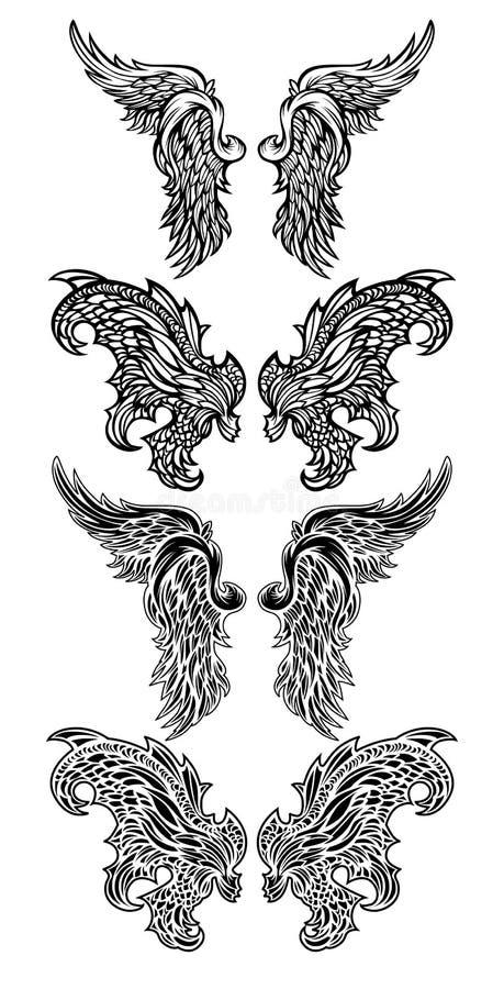 Vektorengels-Flügel u. Dämon-Flügel vektor abbildung