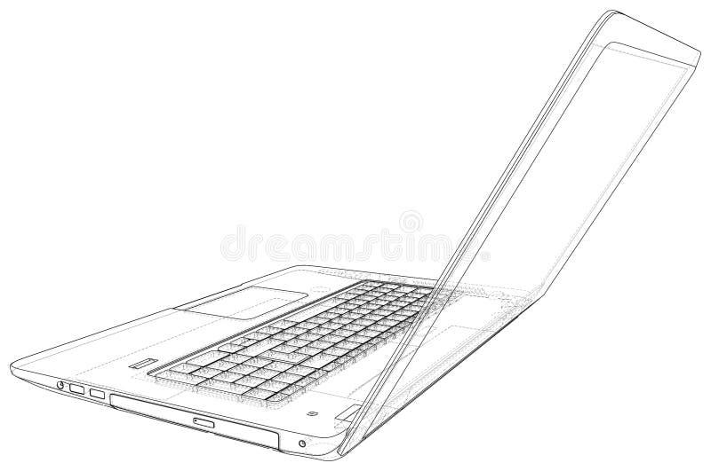 Vektorentwurf der Laptop-Computers Geschaffene Illustration von 3d vektor abbildung