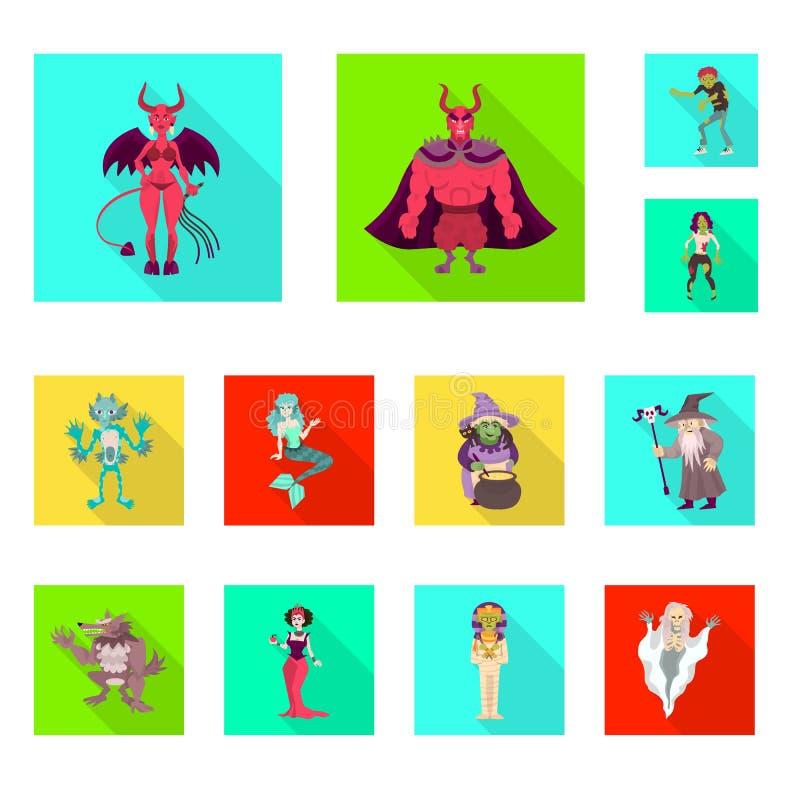 Vektorentwurf der Mystiker- und Höllenikone Sammlung Vektorillustration des Mystikers und des Devilry der auf Lager vektor abbildung