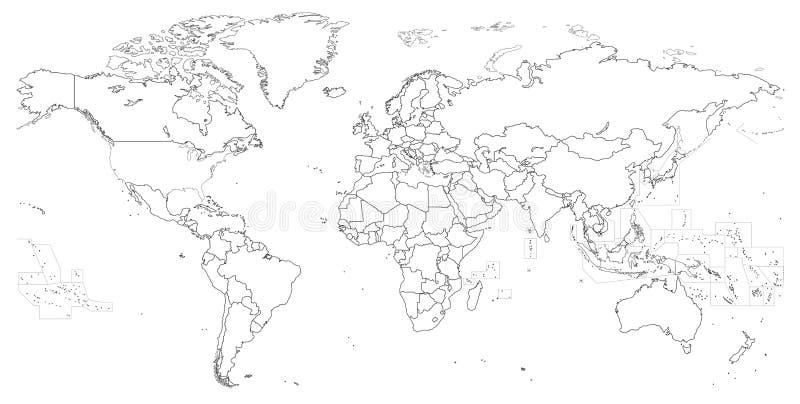 Vektorentwurf der politischen Weltkarte lizenzfreie abbildung