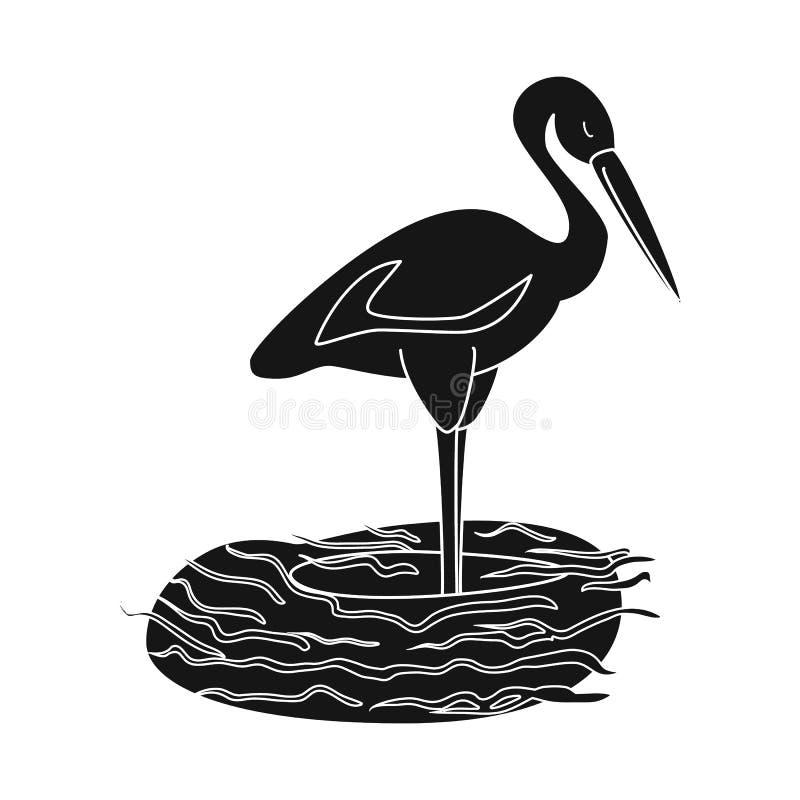 Vektorentwurf der Storch- und Vogelikone Sammlung des Storchs und der fliegenden Vektorillustration auf Lager vektor abbildung