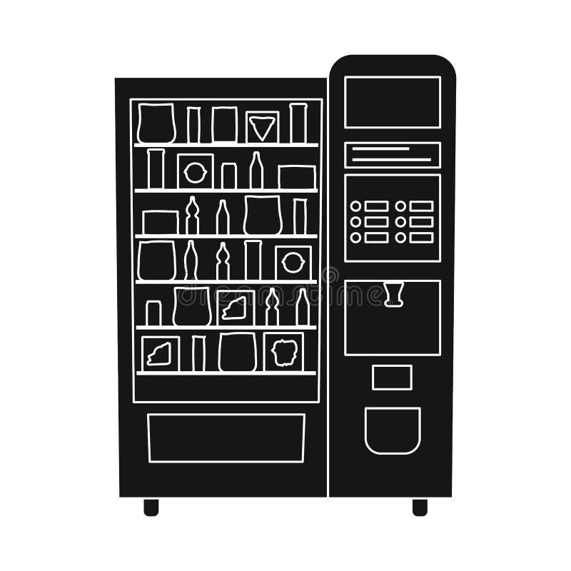 Vektorentwurf des Automaten und der verkaufen Ikone Sammlung der Automat- und Nahrungsmittelvorratvektorillustration stock abbildung