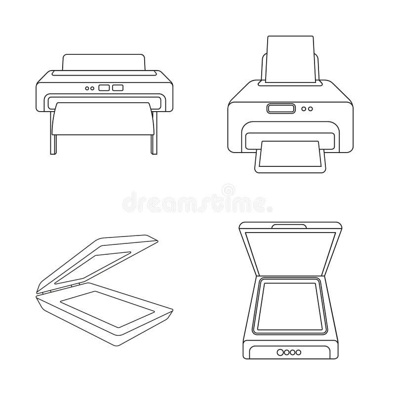 Vektorentwurf des Drucker- und Plottersymbols Sammlung des Drucker- und Maschinenaktiensymbols für Netz stock abbildung